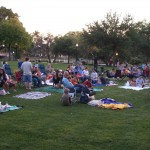 Early crowd at Sims Park Free Movie Friday
